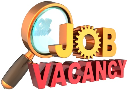 Job vacancy text banner under magnifying glass. Unemployment work searching abstract. Jobs employment opportunity icon concept. Detailed 3d render. Isolated on white background