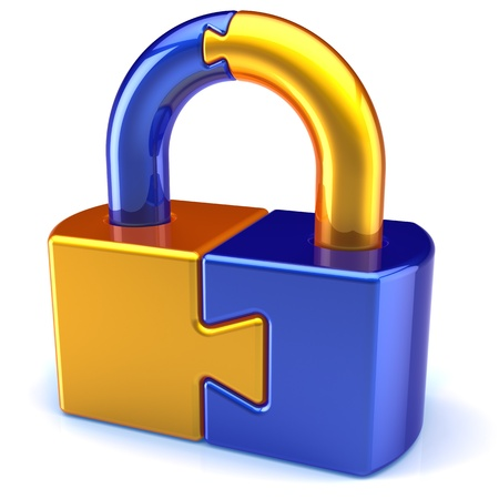 Lock padlock security password safeguard. System access icon concept. Puzzle link closed secret code encryption colored golden blue metallic parts. Detailed 3d render. Isolated on white background