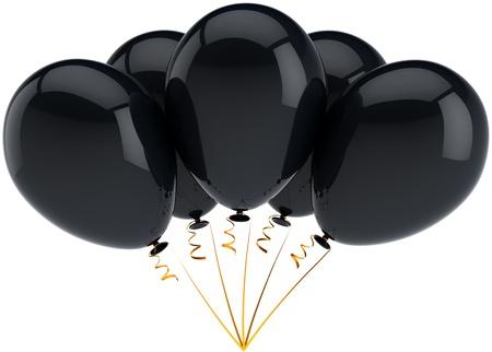 luto: Grupo de cinco globos de cumpleaños decoración de negro dispuestos en un montón. Alegre felicidad tristeza tristeza depresión conmemoración concepto. 3d detallada. Aisladas sobre fondo blanco