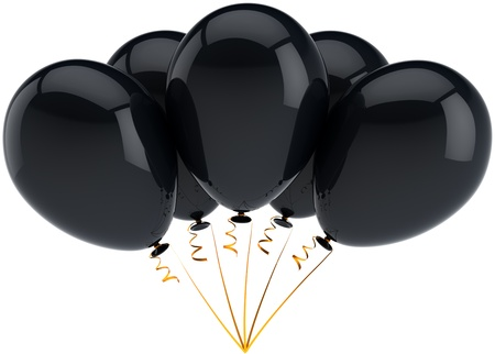 Party balloons five black birthday decoration arranged in a bunch. Happiness joyful sorrow sadness depression commemoration concept. Detailed 3d render. Isolated on white background