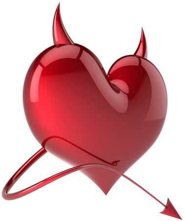 Devil heart Love passion symbol total red with horns and a tail. Demon feeling abstract. Lover flirting concept. Valentines day holiday symbol. Detailed 3d render. Isolated on white background Stock Photo