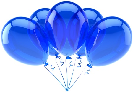 Balloons blue five party birthday decoration of holiday celebration. Anniversary retirement occasion graduation concept. Happy friendly joy abstract. Detailed 3d render. Isolated on white background photo