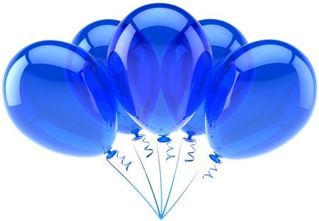 气球蓝色五党生日装饰假日庆祝。周年纪念退休场合毕业概念。快乐友好的喜悦摘要。详细的3d回报。隔绝在白色背景