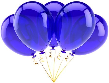 Parti ballons cinq décor bleu heureux anniversaire de la célébration des fêtes. Anniversaire de l'obtention du diplôme de retraite occasion concept. Abstraite joie fun. Détail rendu 3d. Isolé sur fond blanc Banque d'images - 10980023