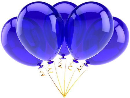 congratulate: Party balloons five blue happy birthday decoration of holiday celebration. Occasion anniversary retirement graduation concept. Joy fun abstract. Detailed 3d render. Isolated on white background