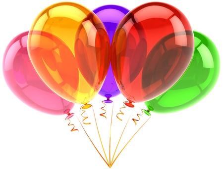 matrimonio feliz: Grupo de cinco globos de cumpleaños decoración translúcida multicolor. Abstracto feliz diversión alegría. Aniversario de graduación con motivo de vacaciones de jubilación concepto. 3d detallada. Aisladas sobre fondo blanco