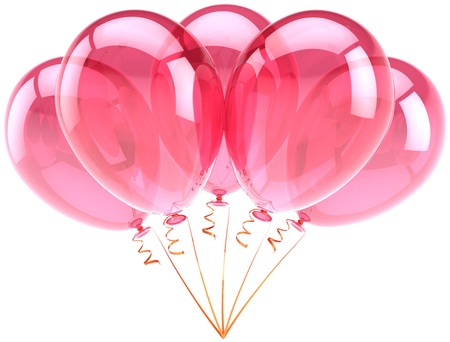 best party: Balloons pink birthday party celebration anniversary decoration. Romantic feeling joy fun abstract. Honeymoon holiday greeting card design element. Detailed 3d render. Isolated on white background