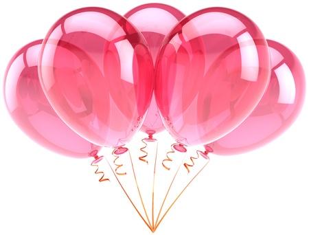 best party: Palloncini rosa, festa di compleanno celebrazione decorazione anniversario. Romantico gioia astratta sensazione divertente. Viaggio di nozze vacanza biglietto di auguri elemento di design. Dettagliate rendering 3D. Isolato su sfondo bianco Archivio Fotografico