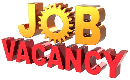 Job vacancy announcement text banner colored shiny red golden. Jobs employment opportunity icon concept. Jobless unemployment work searching. Detailed 3d render. Isolated on white background photo