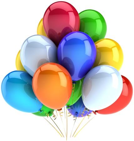 globos de cumplea�os: Cumplea�os globos fiesta de celebraci�n de la decoraci�n de la fiesta multicolor. Aniversario de graduaci�n concepto de jubilaci�n. Divertido feliz infancia abstracto alegr�a. 3d detallada. Aisladas sobre fondo blanco