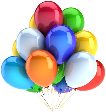 Birthday balloons party celebration decoration of holiday multicolored. Anniversary graduation retirement concept. Happy childhood fun joy abstract. Detailed 3d render. Isolated on white background Standard-Bild