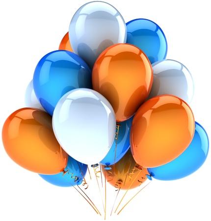 Parti ballons de décoration d'anniversaire heureux de célébrer orange blanc bleu. Abstraite joie fun amicale. Anniversaire de la célébration de vacances carte concept de voeux. Détail rendu 3d. Isolé sur fond Banque d'images - 10980031
