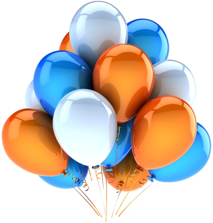 happy retirement: Party balloons happy birthday decoration of celebrate orange blue white. Joy fun friendly abstract. Holiday anniversary celebration greeting card concept. Detailed 3d render. Isolated on background