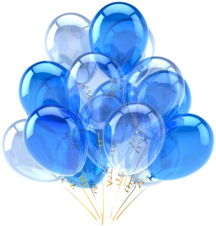Party balloons blue cyan translucent. Decoration for birthday holiday anniversary retirement celebration classic. Fun joy happy emotions abstract. Detailed render 3d. Isolated on white background