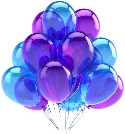 Ballons bleu translucide mauve. Décoration de l'anniversaire de l'obtention du diplôme de vacances de la retraite célébration. La joie amusant plaisir abstrait positif. 3d rendent détaillé. Isolé sur fond blanc Banque d'images - 11070068