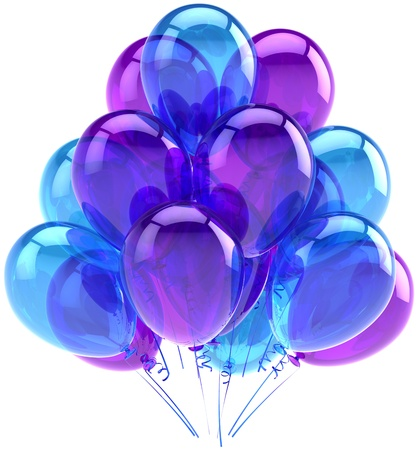 Balloons party birthday blue purple translucent. Decoration of holiday anniversary retirement graduation celebration. Fun joy happy positive abstract. Detailed render 3d. Isolated on white background