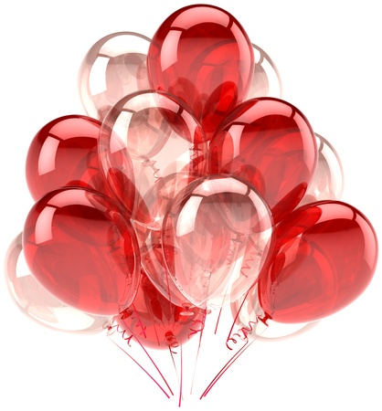 Balloons party birthday red pink translucent. Decoration of holiday anniversary retirement graduation celebration. Fun joy happy emotion abstract. Detailed render 3d. Isolated on white background Standard-Bild