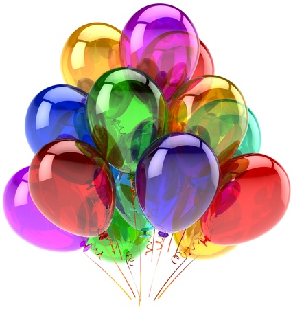 Balloons party happy birthday decoration rainbow multicolor translucent. Joy fun abstract. Holiday anniversary retirement graduation celebrate concept. Detailed 3d render. Isolated on white background photo