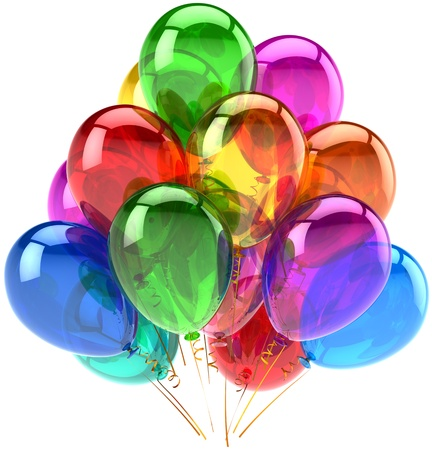 Party balloons happy birthday decoration rainbow multicolor translucent. Holiday anniversary retirement graduation celebrate concept. Fun joy abstract. Detailed 3d render. Isolated on white background