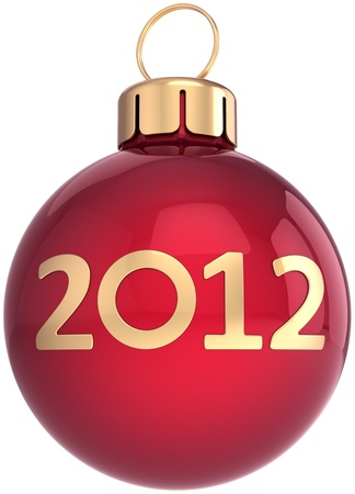New Year 2012 Christmas ball bauble shiny decoration colored red with golden date. Advent calendar design element. Happy Merry Xmas joy icon concept. Detailed 3d render. Isolated on white background photo