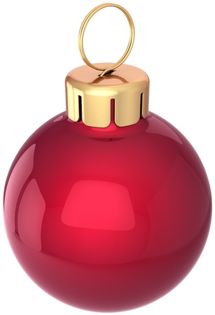 Christmas ball bauble Happy New Year decoration classic red with golden detail. Merry Xmas greeting card design element. Winter holiday icon concept. Detailed 3d render. Isolated on white background