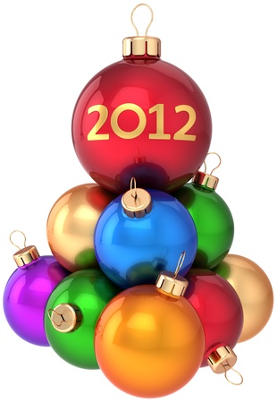Christmas balls 2012 New Year baubles multicolored arranged as a pyramid. Modern traditional winter holidays decoration. Xmas greeting card concept. Detailed 3d render. Isolated on white background photo