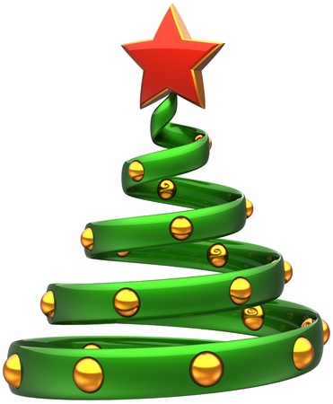 Christmas tree green with golden balls and shiny red star. Happy New Year bauble stylized. Beautiful wintertime Xmas holidays icon concept. Detailed 3d rendering. Isolated on white background