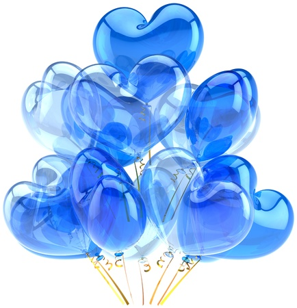 Party balloons blue cyan translucent in form of heart shapes. Decoration for birthday holiday anniversary celebration. Fun joy happy emotions abstract. Detailed render 3d. Isolated on white background