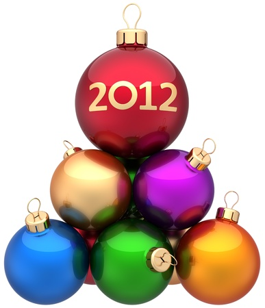 Christmas balls New 2012 Year baubles multicolor arranged as a pyramid. Xmas greeting card concept. Modern traditional winter holidays decoration. Detailed 3d render. Isolated on white background