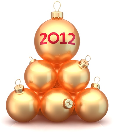 New 2012 Year Christmas balls baubles golden arranged as pyramid. Luxury Xmas greeting card concept. Modern traditional wintertime holidays decoration. Detailed 3d render. Isolated on white background photo