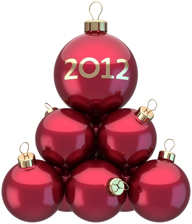 New Year 2012 baubles Christmas balls colored red arranged as a pyramid. Xmas greeting card concept. Beautiful traditional winter holidays decoration. Detailed 3d render. Isolated on white background photo