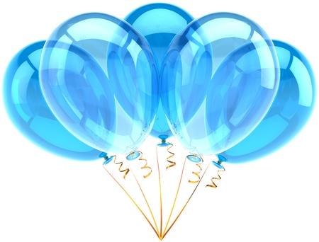 Ballons van de partij vijf cyaan blauw doorschijnend. Decoratie voor de verjaardag van vakantie verjaardag pensioen viering klassieker. Leuk vreugde blij emoties abstract. Gedetailleerde maken 3d. Geà ¯ soleerd op witte achtergrond