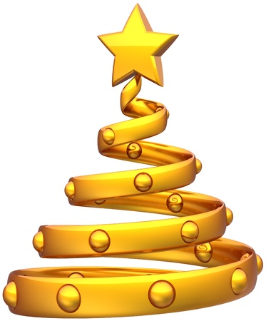 Christmas tree golden abstract decorated with balls and a shiny star. Happy New Year's eve bauble stylized traditional Xmas holidays icon concept. Detailed 3d rendering. Isolated on white background Standard-Bild