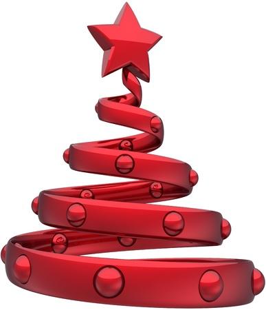 estrellas de navidad: Árbol de Navidad de color rojo abstracto decorado con bolas y una estrella brillante. Feliz víspera de Año Nuevo juguete juguetes tradicionales de Navidad estilizada fiestas icono de concepto. Representación 3D detallados. Aisladas sobre fondo blanco