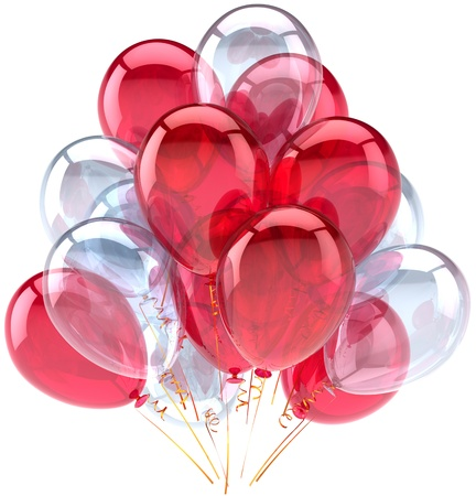 Balloons birthday party red white decoration translucent. Weekend holiday anniversary retirement graduation celebration concept. Fun joy happy abstract. Detailed render 3d. Isolated on background