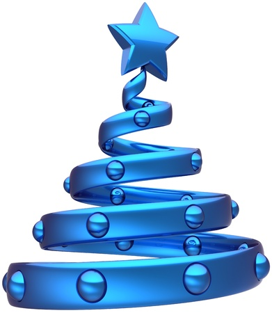 Christmas tree abstract blue decorated with balls and a shiny star. Happy New Years eve bauble stylized traditional toy Xmas holiday icon concept. Detailed 3d rendering. Isolated on white background Standard-Bild