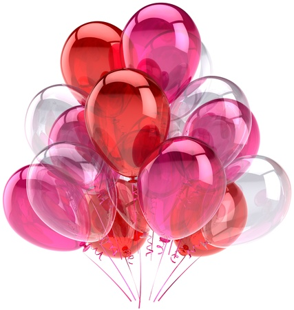 birthday: Balloons party birthday pink red colorless translucent. Decoration of holiday anniversary retirement graduation celebration. Happy fun joy abstract. Detailed render 3d. Isolated on white background