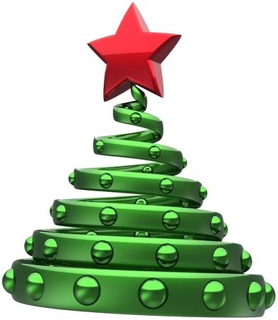 Green Tree Boule de Noël abstraite Joyeux Nouvel An décoration stylisée avec l'étoile rouge brillant. Belle Merry Xmas vacances icône de concept. Détail rendu 3d. Isolé sur fond blanc Banque d'images - 11270756
