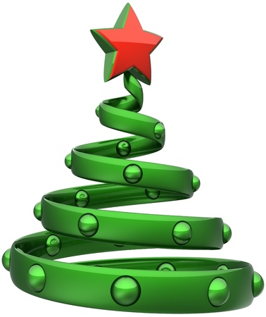 Merry Christmas Tree abstract bauble Happy New Year stylized decoration green with red star. Beautiful traditional Xmas holiday celebration symbol. Detailed 3d render. Isolated on white background