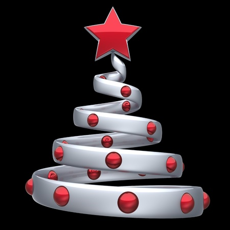 Christmas tree white silver abstract decorated with red shiny balls and a star. Happy New Year eve bauble stylized traditional Merry Xmas icon concept. Detailed 3d render. Isolated on black background Stock Photo - 11270757