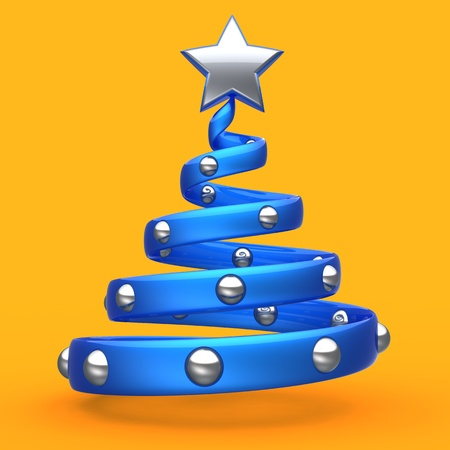 Abstract Christmas Tree bauble New Years Eve decoration stylized blue with shiny silver star. Beautiful Merry Xmas winter holiday icon concept. Detailed 3d render. Isolated on orange background photo