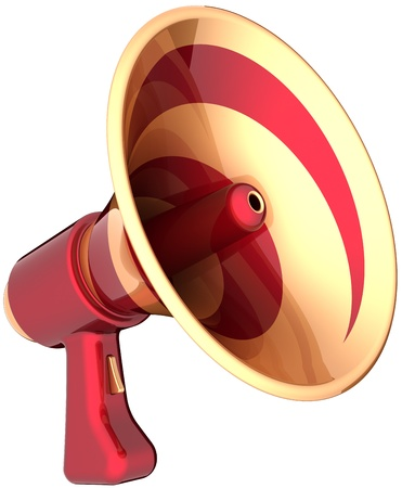 Megaphone news communication announcement symbol colored red golden. Attention advertisement notify blog concept. Bullhorn loudspeaker message icon. Detailed 3d render. Isolated on white background Banque d'images