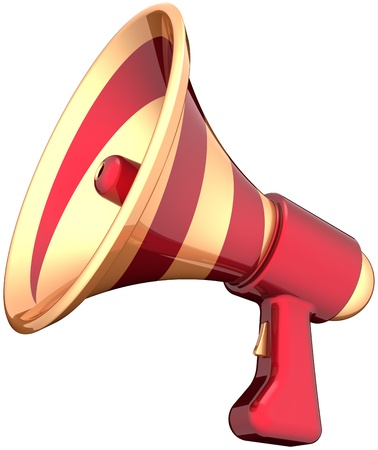 Megaphone announcement news communication symbol colored golden red. Bullhorn loudspeaker message icon. Attention advertisement notify blog concept. Detailed 3d render. Isolated on white background