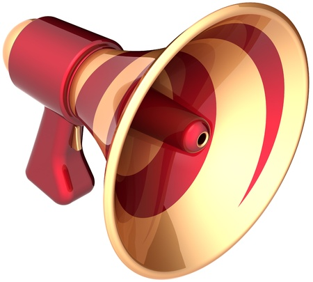 amplify: Megaphone announcement communication loudspeaker news symbol colored golden red. Attention advertisement notify blog concept. Bullhorn message icon. Detailed 3d render. Isolated on white background