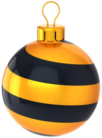 Christmas ball Happy New Year bauble decoration stylish black golden. Merry Xmas greeting card design element. Wintertime holiday icon concept. Detailed 3d render. Isolated on white background Stock Photo - 11270760