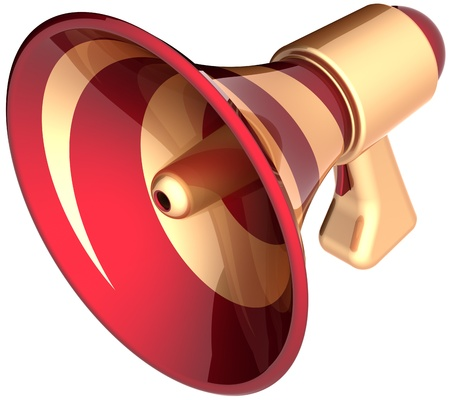 Megaphone sale announcement loudspeaker news communication icon golden red. Bullhorn message symbol. Attention advertisement notify blog alarm concept. Detailed 3d render. Isolated on white background photo