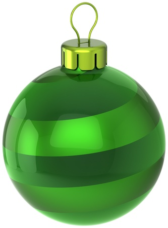 Christmas ball Happy New Year bauble decoration classic colored green. Merry Xmas greeting card design element. Traditional winter holiday symbol icon. Detailed 3d render. Isolated on white background
