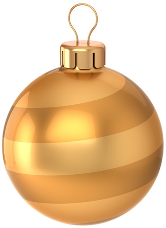 Christmas ball decoration Happy New Year bauble luxury golden. Traditional winter holiday icon concept. Merry Xmas greeting card design element. Detailed 3d render. Isolated on white background Stock Photo - 11450065