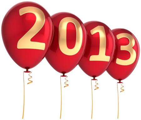2013 New Year party balloon holiday decoration. Red helium balloons with gold numbers. Future calendar date. Detailed 3d render