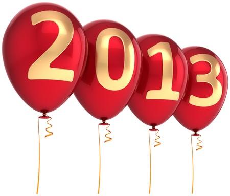 2013 Nouveau parti Année de vacances ballon décoration. Red ballons à l'hélium avec des nombres d'or. Date du calendrier futur. Détail rendu 3d Banque d'images - 16177831